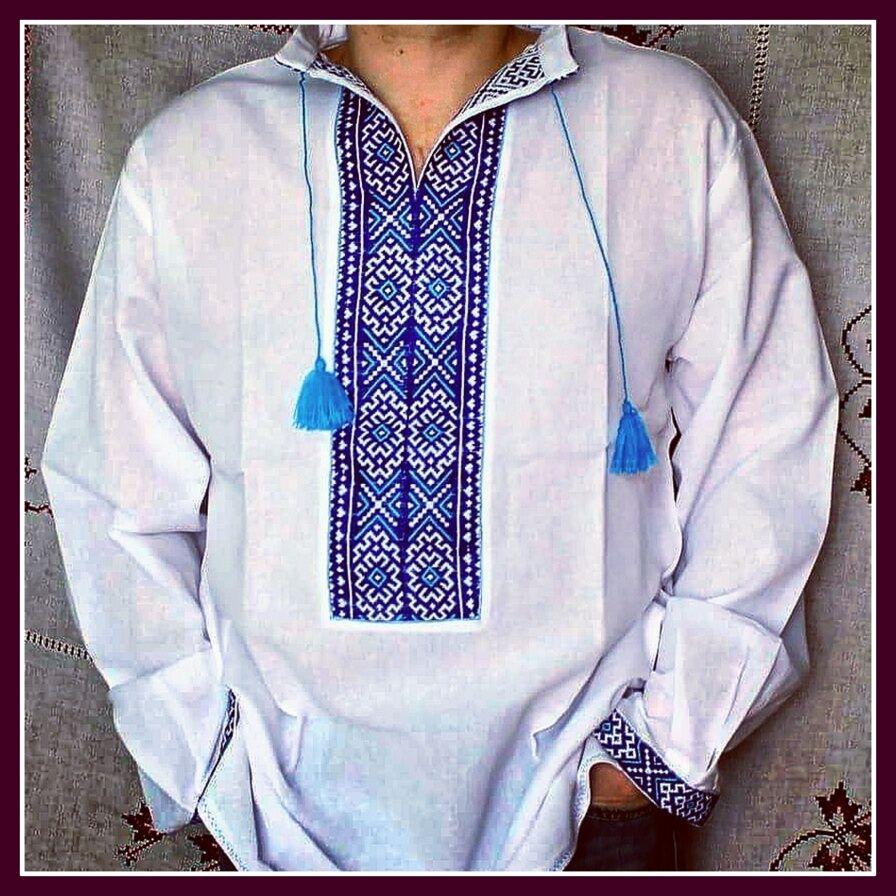 VYSHYVANKA Mens Ukrainian Embroidered LINEN White SHIRT GIFT FOR HIM IDEA
