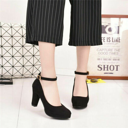 Womens Ladies Ankle Strap Wedding Court Shoes Block High Heels Dance Pumps Party