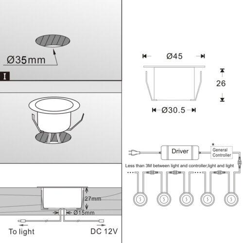 31mm-61mm WIFI Controller RGB+warmweiss LED Bodeneinbaustrahler Terrasse Außen