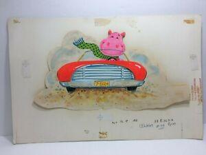 Vintage-1969-The-Norcross-Hippo-Car-Hippopotamus-Original-Artwork-Proof