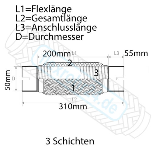 Flexrohr Flexstück Auspuff 50x200//310mm ohne schweißen universal inkl Schellen