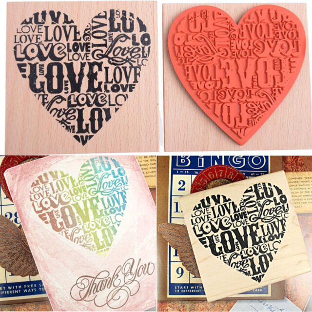 Wooden Rubber Love Heart Stamp For Diary Scrapbooking Card Making DIY Craft BDFL