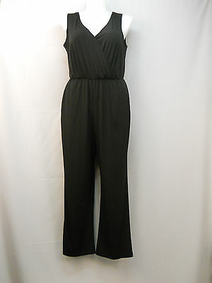 Womens Jumpsuit PLUS SIZE 1X NY COLLECTION Black Sleeveless Surplice Wide Legs