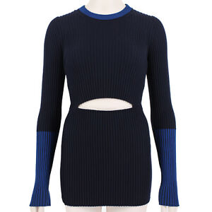Victoria Beckham Navy & Blue Ribbed Knitwear Sweater Size 1 / UK6