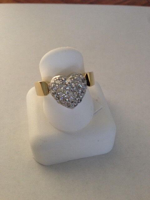 Heart Shaped Diamond Ring 1.00 carat pave 18k Yellow  White gold 12.2 Gram VS