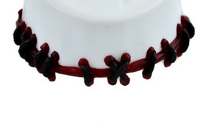 Blood Red Stitch Choker Necklace FX Halloween Frankenstein Punk Rock Deathrock
