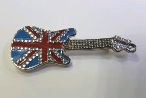 Guitarra Eléctrica cristales de Unión Jack Regalo Musical Pin Insignia Broche Britpop Rock