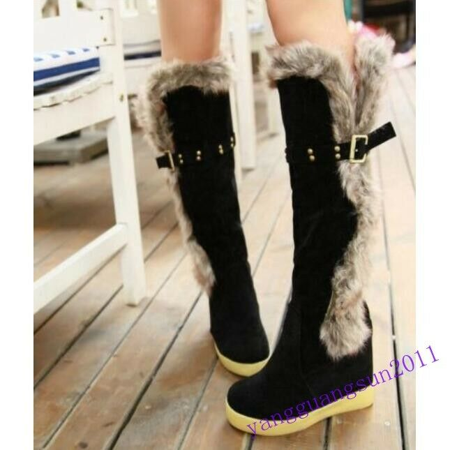 Fashion Women Inside Heigten Thickened Warm Winter Knee High Snow With Fur Boots