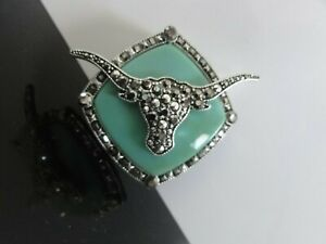VTG-Awesome-Marcasite-Glass-High-End-Large-Figural-Bull-Head-Pendant-Brooch