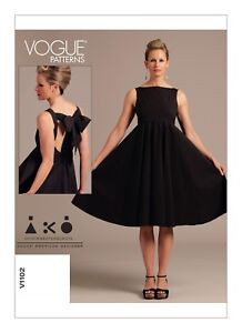 Vogue-SEWING-PATTERN-V1102-Misses-Dress-With-Back-Bow-6-12-Or-14-20