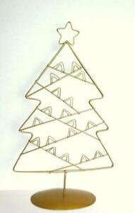 Christmas-Tree-Card-Rack-Stand-Gold-Wire-Vintage