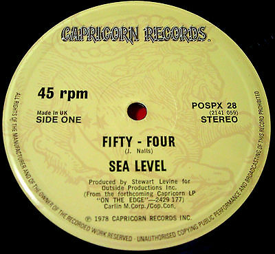 "Sea Level Fifty-Four 12""UK ORIG 1978 Capricorn POSPX 28 b/w A Lotta Colada VINYL"