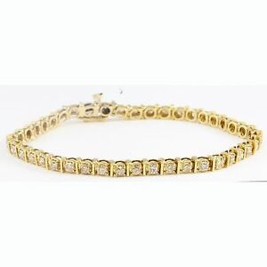 Image Is Loading 14k Yellow Gold Round Brilliant Champagne Diamond Tennis