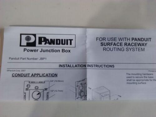 PANDUIT POWER JUNCTION BOX JBP1BL SINGLE GANG FOR SINGLE CHANNEL SURFACE RACEWAY
