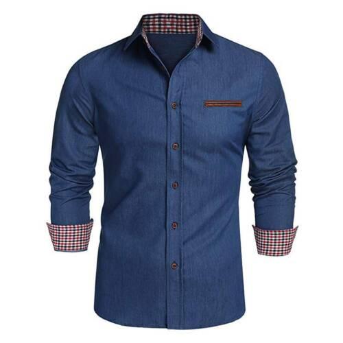 Herren Jeanshemd Slim Fit Business Hochzeit Hemden Freizeit T Shirt Oberteile