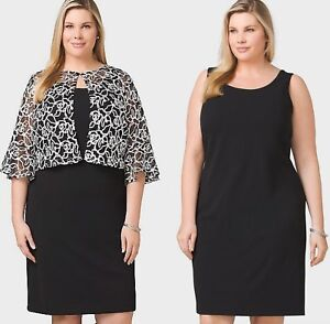 Women\'s PLUS SIZE 14 to 22 MESH-EMBROIDERED-JACKET DRESS Dressbarn ...