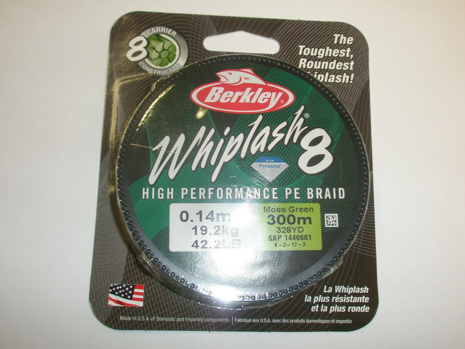 Berkley Whiplash 8 High Performance PE Braid 300m 0.18mm 50.4lb Moss Green