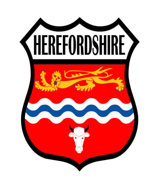 1 X Herefordshire County Shield Flag Decal Car Motorbike Laptop Window Sticker Tekorten