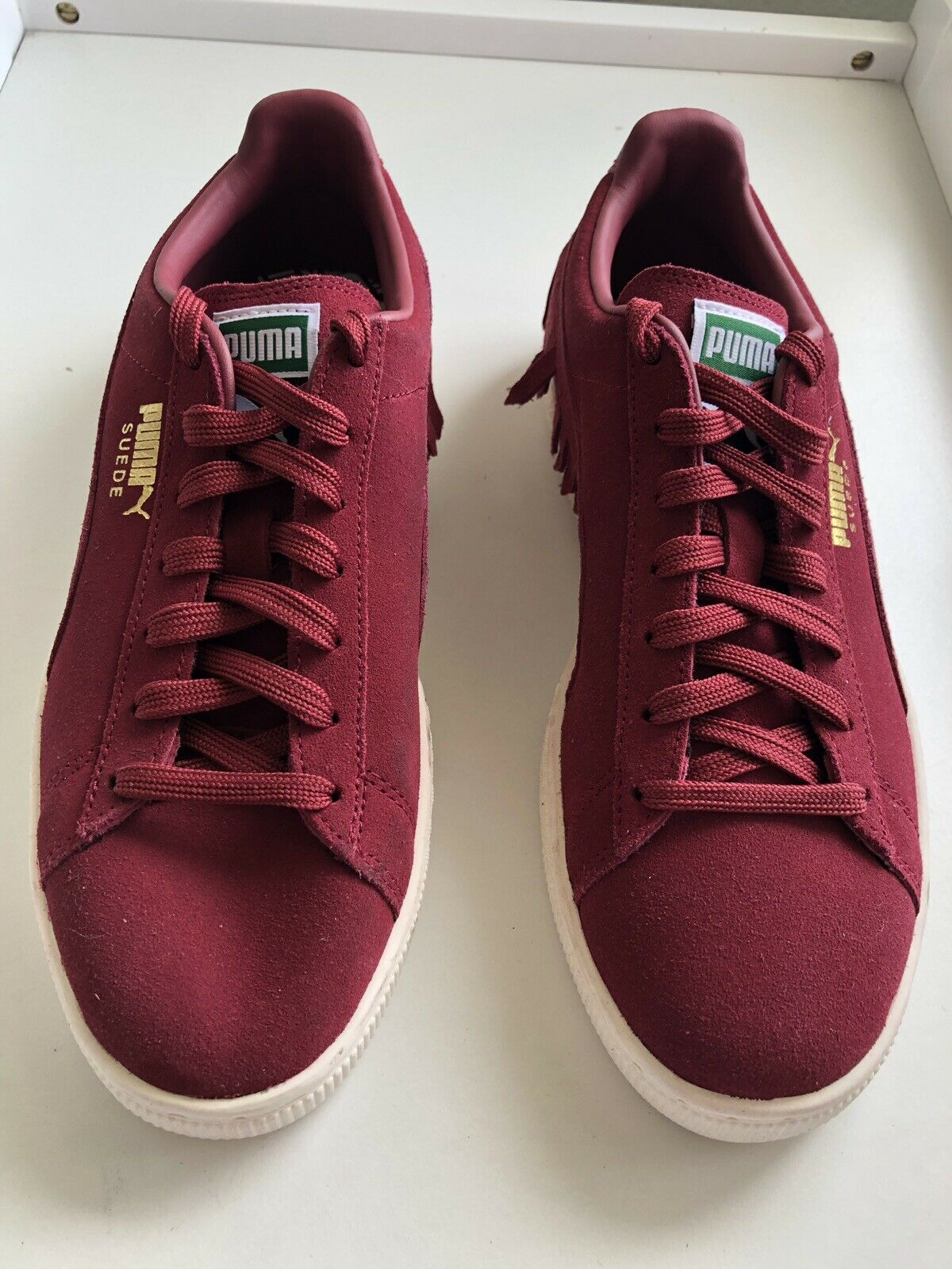 PUMA Woman's Red Burgundy Suede Fringe Sneakers Sz 9