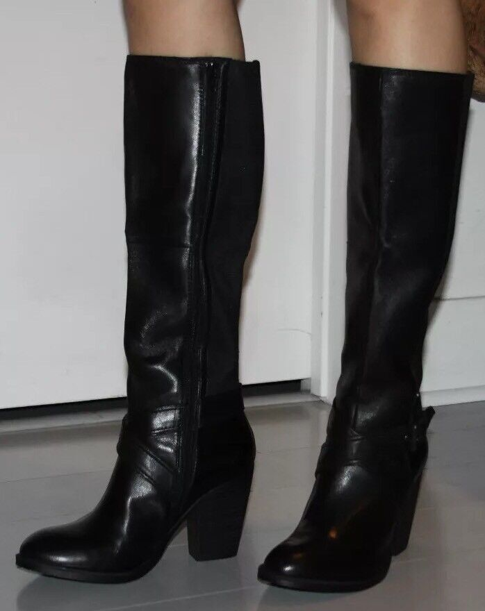 STEVEN BY STEVE MADDEN  ROMANO BLACK LEATHER BOOTS SIZE 5.5
