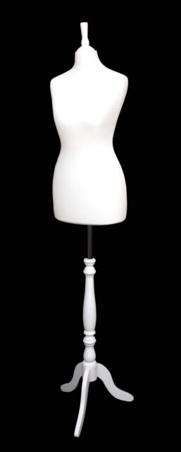 DELUXE Size 8 Female Dressmakers Dummy Mannequin Tailors WHITE Bust White Stand