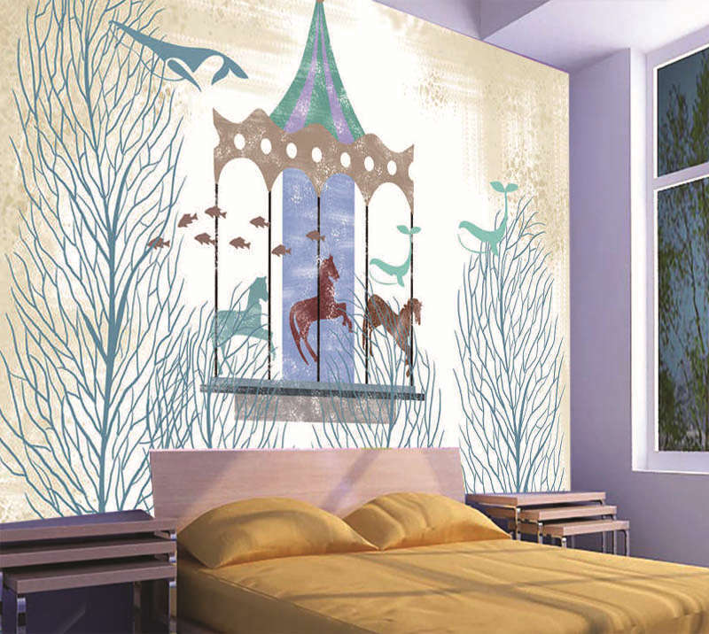 Cold Carousel 3D Full Wall Mural Photo Wallpaper Printing Home Kids Decoration
