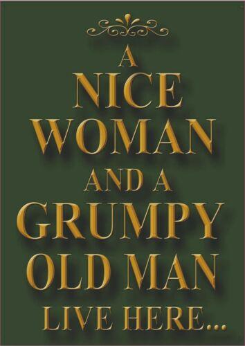 Une belle femme et vieux grincheux Rétro Repro Rustique Signe