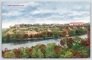 Fort-Snelling-Minnesota-Panorama-Across-Mississipi-River-Bridge-c1910-VO-Hammon