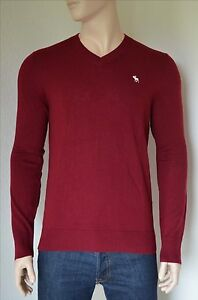 debef54e4a6 Details about NEW Abercrombie & Fitch Icon Wool-Blend V-Neck Sweater Jumper  Burgundy L