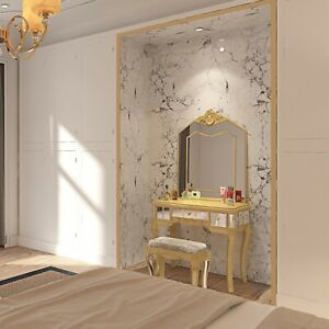 Details about Mirrored Glass Dressing Table Stool French Style Chic Antique  Bedroom Furniture