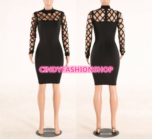 Women Bandage Bodycon Slim Long Sleeve Evening Party Cocktail Pencil ... 1b488a754
