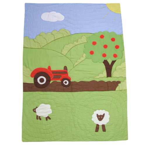 100% Cotton Pocket Stitched Cot QuiltWrap 107x76cms Powell Craft Farmyard