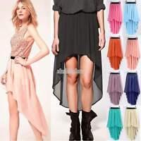 Asym Hem Chiffon Skirt High Low Asymmetrical Long Maxi Dress Elastic Waist EFFU