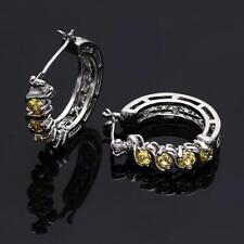 Pair Hoop Huggie Earrings Clasp White Gold Yellow Round Zircon Fashion Jewelry