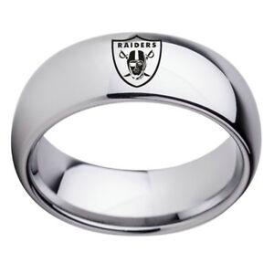Oakland-Raider-Football-Team-Silver-Stainless-Steel-Mens-Band-Ring-Size-6-13