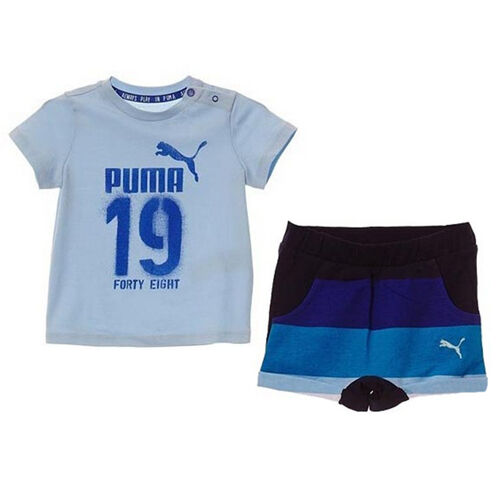 Puma Minicats bambino stile T-shirt shorts blu cotone Set 836778 19 UA54