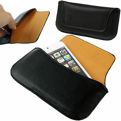 Black Universal PU-Leather Slim Belt Loop Pouch / Hip Case Magnetic For Phones