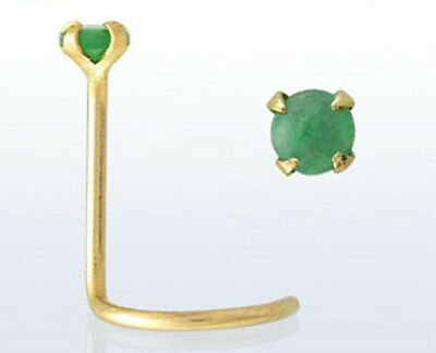 14kt Gold Small Fashionable 22g 0.6mm Nose Piercing Screw Stud w/ Emerald New US