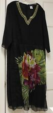 Ulla Popken Black Floral with Beads A Line Fit Dress Size 24/26 NWOT