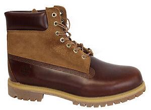 Timberland-15-2cm-Prem-BOTAS-HOMBRE-Marrones-cuero-nobuk-Zapatos-Con-Cordones