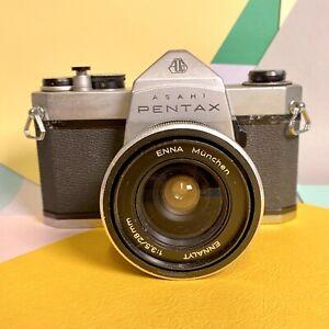 Pentax-sp500-35mm-SLR-Film-Kamera-mit-Enna-Munchen-f3-5-28mm-Weitwinkel-Objektiv-LOMO