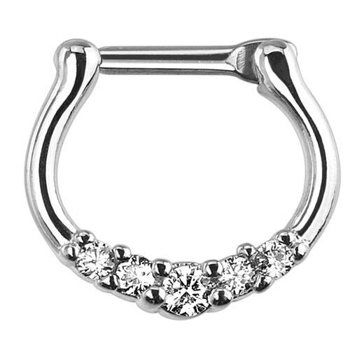 1 Pc Clear C.Z. Classic 316L Surgical Steel Septum Clickers 16g 12mmx11mm