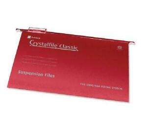 25 x Rexel Crystalfile classique onglet 15mm A4 Suspension dossier rouge 78161