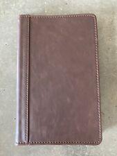 Zippered Faux Leather Portfolio Samsill 70838 Dark Brown 5x8 Writing Pad Case