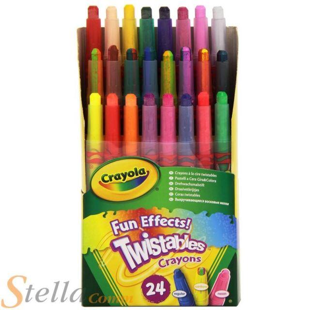 24 Crayola Amusant Effets Spéciaux Rotatif Craies À La Cire Colorer Enfants Art