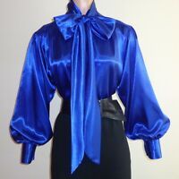 Royal Blue Shiny Liquid Satin Bow Blouse Top High Neck Vtg Usa S M L 1x 2x 3x