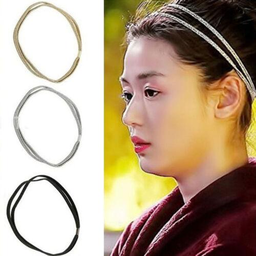 Les femmes élastiques bling Band cheveux double tressé bandeau Glitter I