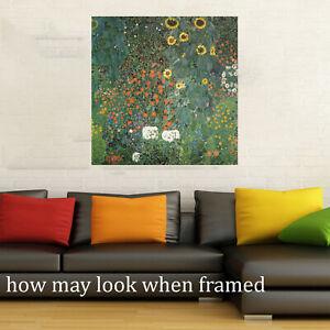 Klimt-gustav-Framed-canvas-Vintage-Art-Print-Painting-60cm-sunflowers-24-034-flower