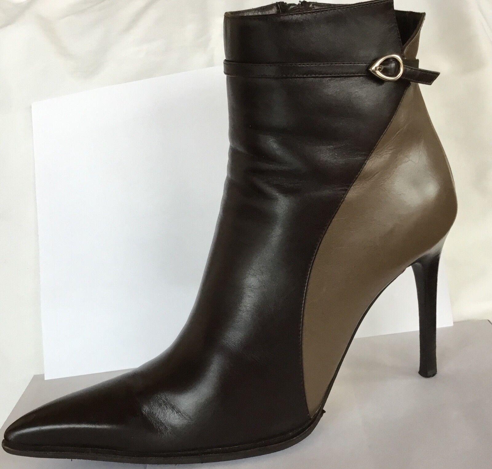 Goffroto Fantini Stiefel Leather braun   Mocca Short Stiefel SZ 39.5  9.5