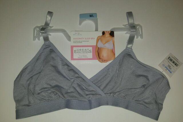 4c2e623c9e Great Expectations Medium Large Maternity Sleep Bra Super Soft Rayon Gray  NWT